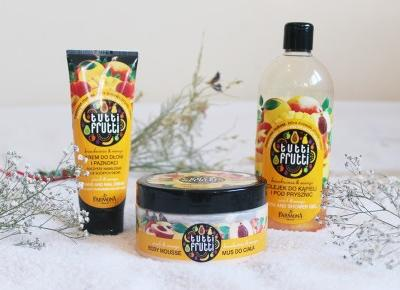 Farmona, Tutti Frutti 'brzoskwinia & mango': mus do ciała, krem do rąk, olejek pod prysznic - ShinyHaired - włosy, uroda, zdrowie