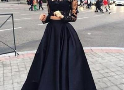 Sexy Black Lace Long Sleeve Two Pieces Evening Gown----www.27dress.com