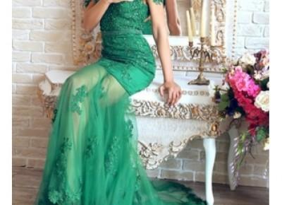 sheer-skirt mermaid green lace evening dress.---www.27dress.com