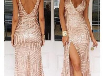 $99--V-Neck Sequins Prom Dress--27dress.com