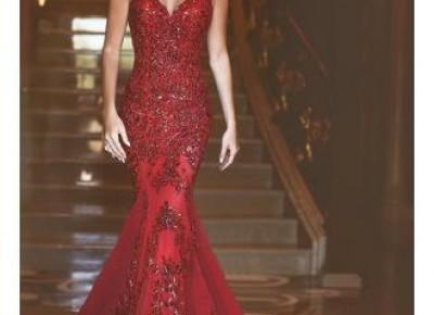Red Mermaid Sequins Prom Dress --www.27dress.com