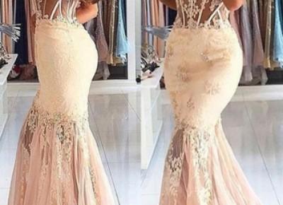 2017 Mermaid Lace Appliques Prom Dress.  www.27dress.com