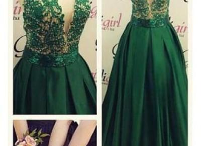 spaghetti strap 2017 lace beadings prom dress--www.27dress.com