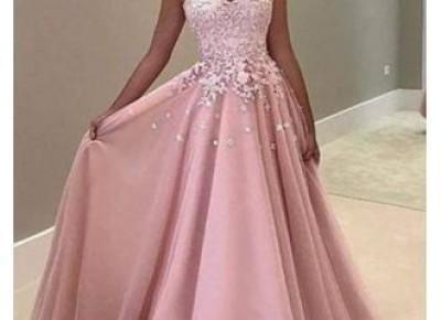 2017 Pink Lace Evening Dress---www.27dress.com