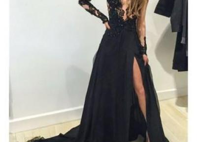 Black Lace Prom Dress--www.27dress.com