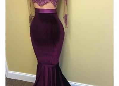 $149--Grape Velvet long sleeve lace prom dress--27dress.com