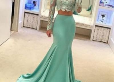 Two Piece Mermaid Lace Evening Dress---www.27dress.com