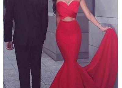 Sexy Red 2017 Mermaid Evening Dress Sweetheart Long from 27dress.com