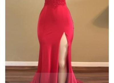 Red lace Split Prom Dress--www.27dress.com