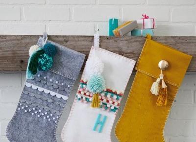 DIY Christmas stockings with felt appliqués and fun embellishments - Think.Make.Share.