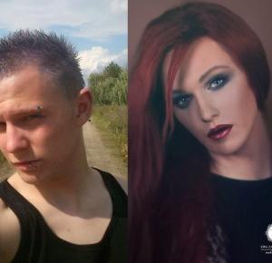 Zmiana mężczyzny w kobietę - makijaż