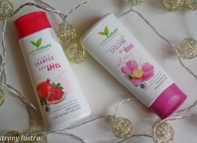 Cosnature: naturalny zwiększający objętość włosów szampon z owocem granatu i naturalna odżywka nawilżająca z dziką różą | Z mojej strony lustra - blog kosmetyczny