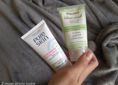 Oczyszczanie twarzy: Przeciwtrądzikowy peeling Nacomi + Oczyszczająca maseczka Oriflame | Z mojej strony lustra - blog kosmetyczny