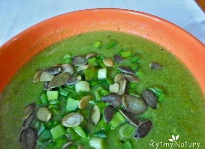 Zupa jarzynowa kremowa z zielonych warzyw gotowana, pestkami dyni muskana - Rytmy Natury