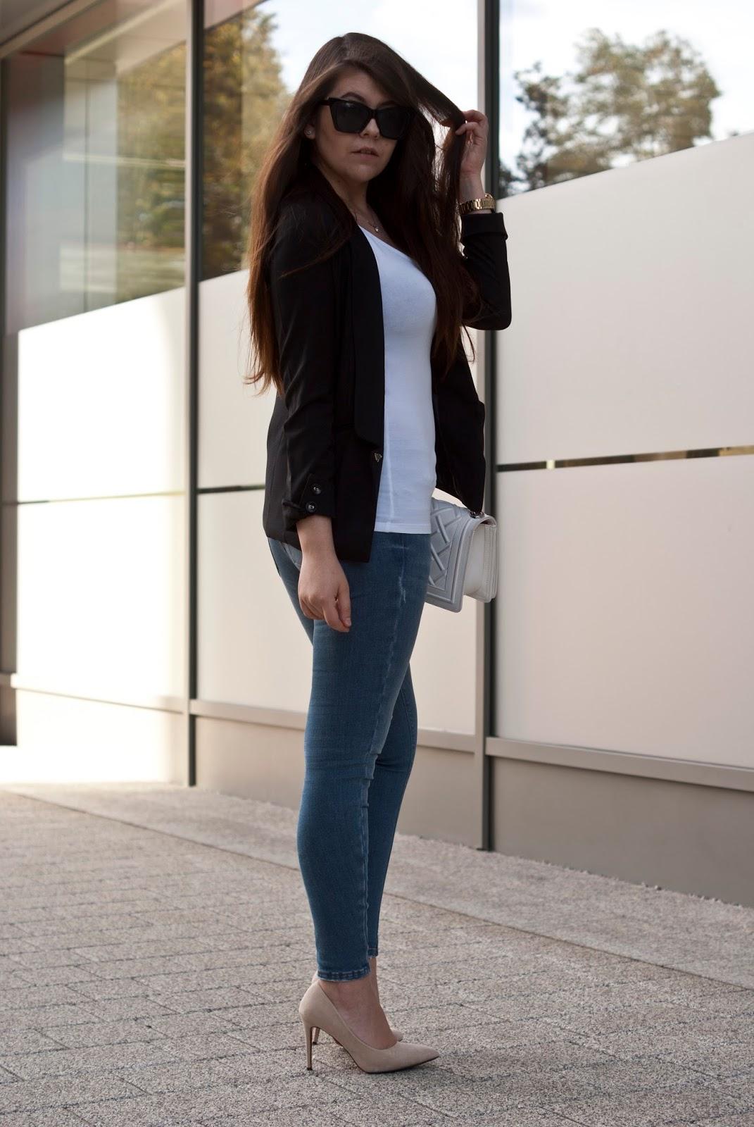 Zara Jeans Black Blazer - Feather - Mój sposób na modę