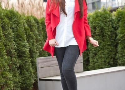 Czerwony płaszcz biała koszula / Red coat white shirt - Feather - Mój sposób na modę