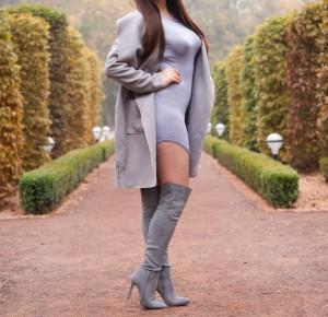 Szare kozaki za kolano ebutik, / Grey Dresses twinkledeals  - Feather - Mój sposób na modę