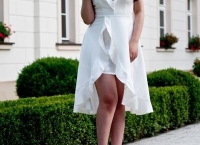 Feather - Mój Sposób Na Modę : Biała Sukienka Na Poprawiny Dla Panny Młodej Wesele / Ruffle High Low Slip Dress