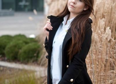 Zaful Czarny płaszcz militarny / Black Overcoat - Feather - Mój Sposób Na Modę