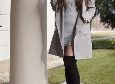 Szary Płaszcz / Gray Coat - Feather - Mój Sposób Na Modę