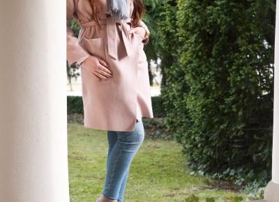 Różowy płaszcz / Pink Drop Shoulder Drape Collar Wrap Coat - Feather - Mój Sposób Na Modę