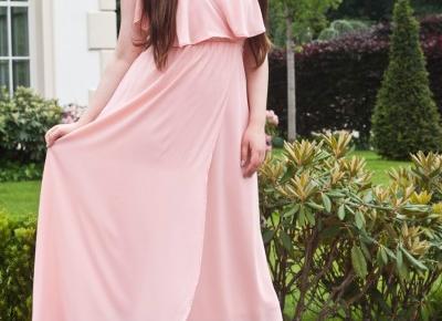 Długa Sukienka Na Wesele / Ruffles Maxi Surplice Wedding Guest Prom Dress - Feather - Mój Sposób Na Modę