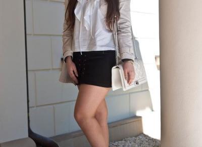 Zamszowa Wiązana Czarna Spódnica / Criss Cross Faux Suede Mini Skirt  - Feather - Mój Sposób Na Modę