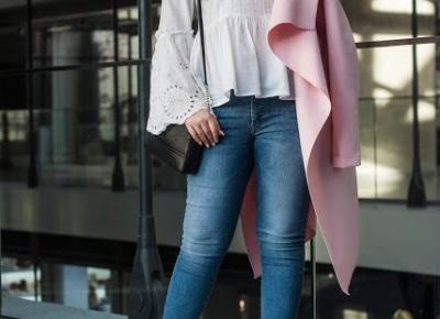 Flauszowy Płaszcz i bluzka z rozkloszowanymi rękawami Guess  |  Feather - Mój Sposób Na Modę