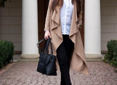 Khaki Waterfall Collar Belted Coat - Feather - Mój Sposób Na Modę
