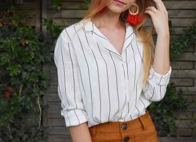 Agii Style: Zamszowa spódniczka i koszula w paski