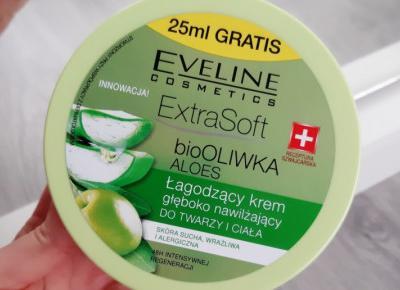 Eveline - Extra Soft, Łagodzący krem do twarzy i ciała głęboko nawilżający, bio oliwka i aloes.