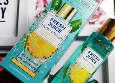 Bielenda - Fresh Juice, Hydro-esencja do twarzy, Rozświetlająca, z bioaktywną wodą cytrusową, sok z ananasa i kwas laktobionowy.