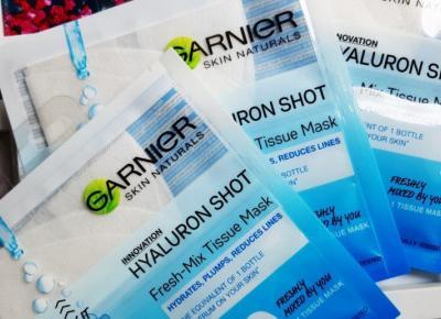 Garnier - Skin Active, Maska do twarzy w płacie, Hyaluron Shot, Fresh-Mix Tissue Mask, Hyaluronic Acid.