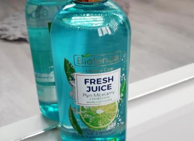 Bielenda - Fresh Juice, Płyn micelarny, Detoksykujący, Z bioaktywną wodą cytrusową, Sok z limonki, kwas salicynowy, micele, Cera mieszana, tłusta, wrażliwa.