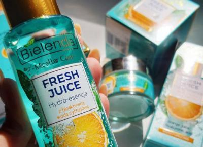 Bielenda - Fresh Juice, Hydro-esencja do twarzy, Nawilżająca, Z bioaktywną wodą cytrusową, Sok z pomarańczy i kwas hialuronowy.