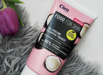 Cien - Food For Skin, Żel-peeling do mycia twarzy, Wygładzenie z kokosem, Skóra normalna, mieszana i tłusta.