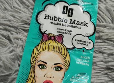 AA - Bubble Mask, Maska bąbelkowa do twarzy, Nawilżenie i świeżość, Aloes i zielona herbata.