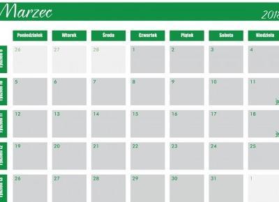 Marzec 2018 - kalendarz do druku | Altruistka
