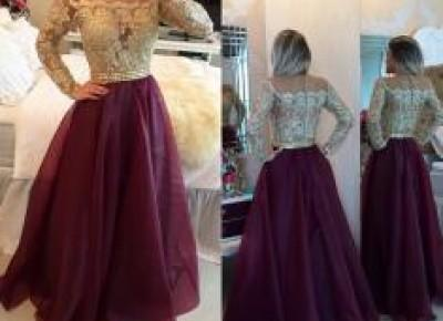 2017 Long Sleeves Prom Dresses Gold Illusion Lace Beaded Burgundy A-line Gorgeous Evening Gowns_Prom Dresses 2017_Prom Dresses_Special Occasion Dresses_Buy High Quality Dresses from Dress Factory - Ba