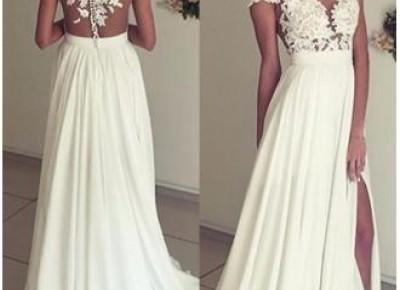 2017 Summer Chiffon Wedding Dresses Lace Top Short Sleeves Side Slit Garden Elegant Bridal Gowns_New A-Line Wedding Dress_A-Line Wedding Dresses_Wedding Dresses_Buy High Quality Dresses from Dress Fac