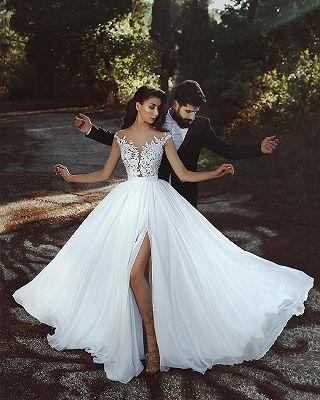 Sexy Brautkleider Mit Spitze | Chiffon Hochzeitskleider Bodenlang Gunstig BA7275 | www.babyonlinewholesale.com