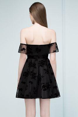 schlichte schwarz abendkleider schulterfrei  elegantes spitze abikleider kurz  babyonlinewholesale