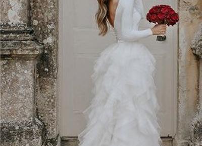 Prinzessin Brautkleider mit armel | Ruckenfrei Hochzeitskleider Schlicht | Babyonlinewholesale