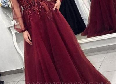 Sexy Ruckenfrei Abendkleider Lang V Asucchnitt | Abiballkleider Mit armel | Babyonlinewholesale