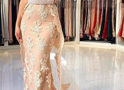 Champagen Abendkleider Lang Spitze | Abiballkleider Gunstig Online | Babyonlinewholesale
