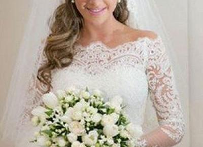 Elegante Brautkleider Mit Spitze Bateau , Hochzeitskleid Spitze Lange armel Online Kaufen | Babyonlinewholesale