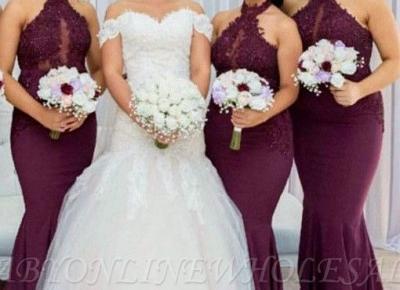 Weinrote Neckholder Brautjungfernkleider Mit Applikationnen , Meerjungfrau armelloses Brautjungfer Kleid | Babyonlinewholesale