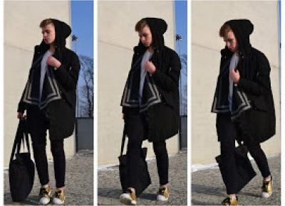 Borysolczyk: Black jacket, gold shoes.