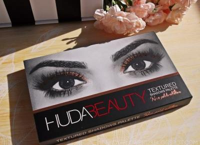 Recenzja: Huda Beauty, Textured Shadows Palette Rose Gold Edition, paleta cieni do powiek. | Lifestyle by Ladyflower.