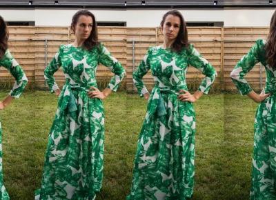 Sukienka z printem w listki od SheIn - Czary-Marty